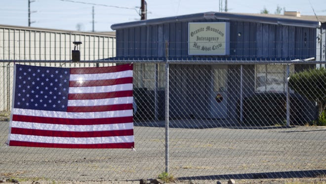 An American flag hanged at the Granite Mountain Hotshots Station 7 in September 2013.