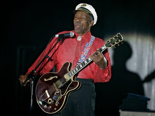"In this Saturday, March 28, 2009 file photo, American guitarist, singer and songwriter Chuck Berry performs during the ""Rose Ball"" in Monaco. On Saturday, March 18, 2017, police in Missouri said Berry has died at age 90."
