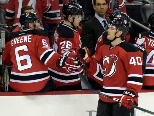 New Jersey Devils center Blake Coleman (40) celebrates