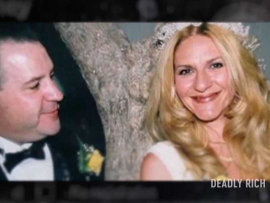 "This is a still from a CNBC true crime show called ""Deadly Rich"" that told how Pamela Fayed, 44, was killed in 2008 after her estranged husband James Fayed, now 55, arranged her murder. James Fayed was convicted in her slaying and now awaits execution on death row."