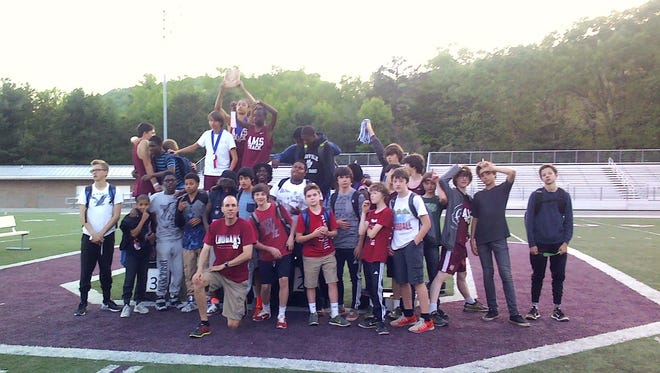 The Asheville Middle School boys track team.