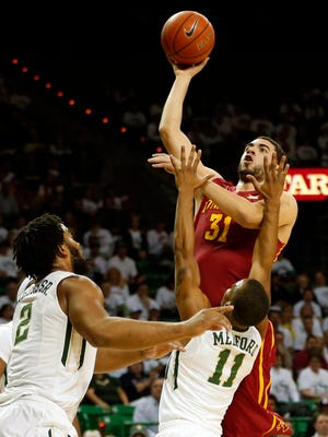 Iowa State's Georges Niang (31), seen here during the first half, missed the game-winning shot against No. 22 Baylor Wednesday night.