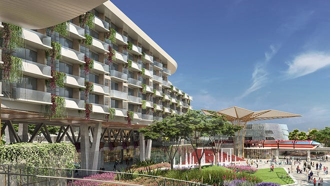 Disneyland's new luxury hotel will include a garden with several playful water features.