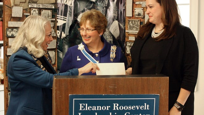 Left to right, Melissa S. Zack, state chairwoman Leadership Legacy Grants, Martha Crapser, New York state Regent and Jennifer Cole are shown at Val-Kill during the presentation.