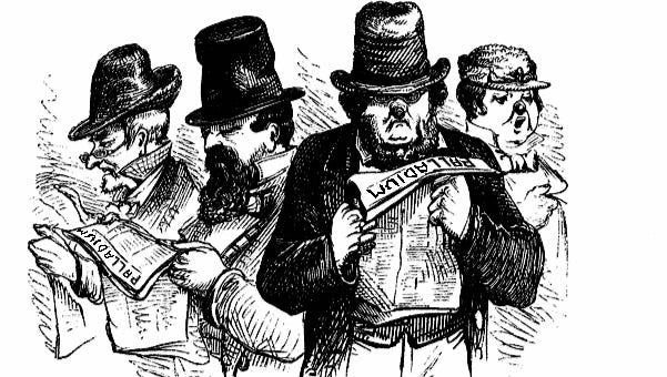 Image of 19th century people reading newspapers.