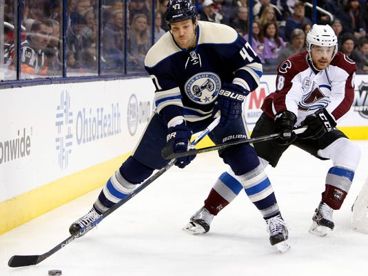 Columbus Blue Jackets' Dalton Prout, left, clears the puck as Colorado Avalanche's Jack Skille defends during the first period of an NHL hockey game Saturday, Jan. 16, 2016, in Columbus, Ohio. (AP Photo/Jay LaPrete)