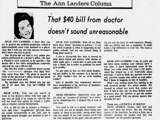 An Ann Landers column from April 1974 in which she