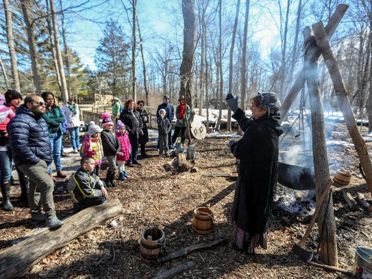 At the Sugar Bush camp visitors are shown how pioneer