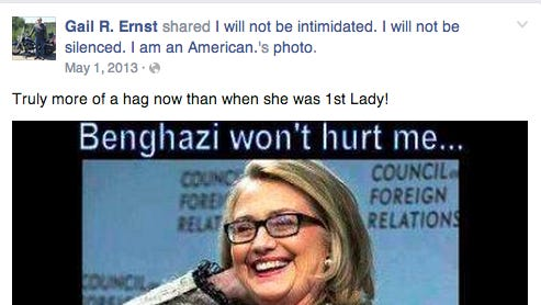 "This screenshot shows a Facebook post from Gail Ernst referring to former Secretary of State Hillary Clinton as a ""hag."""
