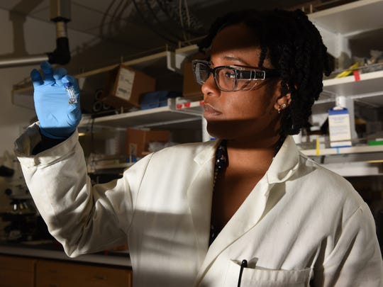 Electrochemist Sonja Francis works in her lab on the campus of Caltech in Pasadena, Calif.