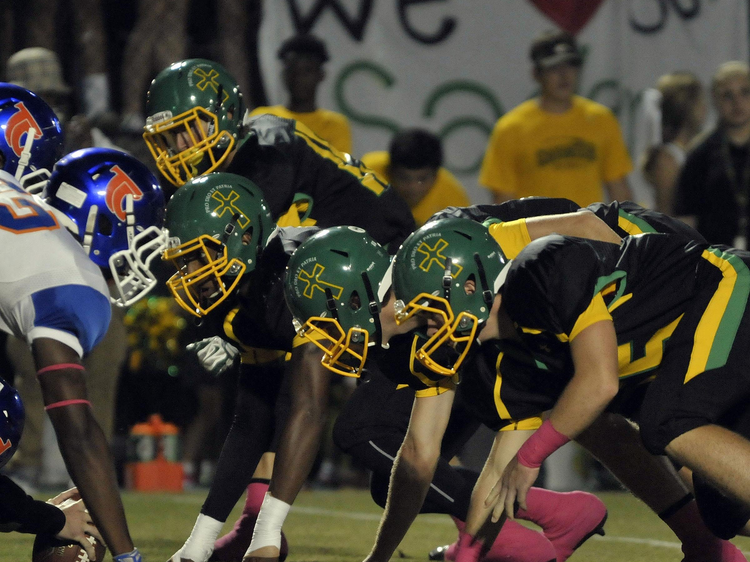 The Pensacola Catholic High Crusaders were wearing a new helmet design Friday night for their game against the Taylor County High Bulldogs.