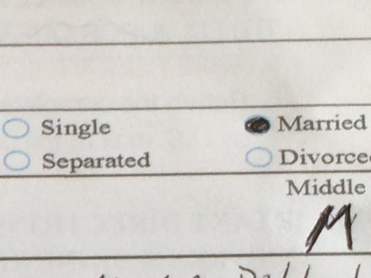 Nancy Andrews, a sometimes single, sometimes married woman, struggled to fill out her jury questionnaire correctly when it came to the question of marital status.