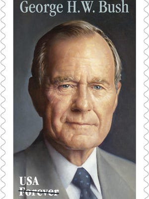 The new Forever stamp design honoring former President George H.W. Bush. The Postal Service said that the commemorative Forever stamp featuring Bush will be issued on his birthday, June 12.