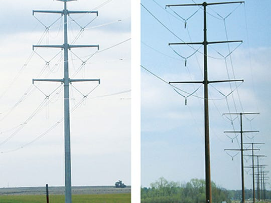 Transmission towers.