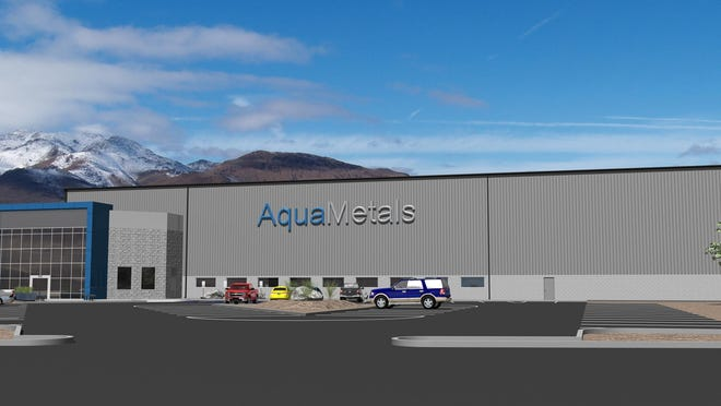 A rendering of AquaMetals new lead battery recycling plant at the Tahoe-Reno Industrial Center east of Reno-Sparks.