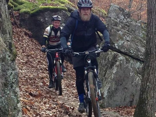 Two mountain bikers try the new Upper Buffalo Mountain