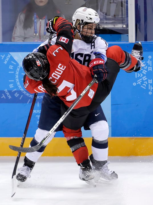 Jocelyne Larocque (3), of Canada, collides with Brianna Decker (14), of the United States, during the third period of a preliminary round during a women's hockey game at the 2018 Winter Olympics in Gangneung, South Korea, Thursday, Feb. 15, 2018. Canada won 2-1. (AP Photo/Julio Cortez)