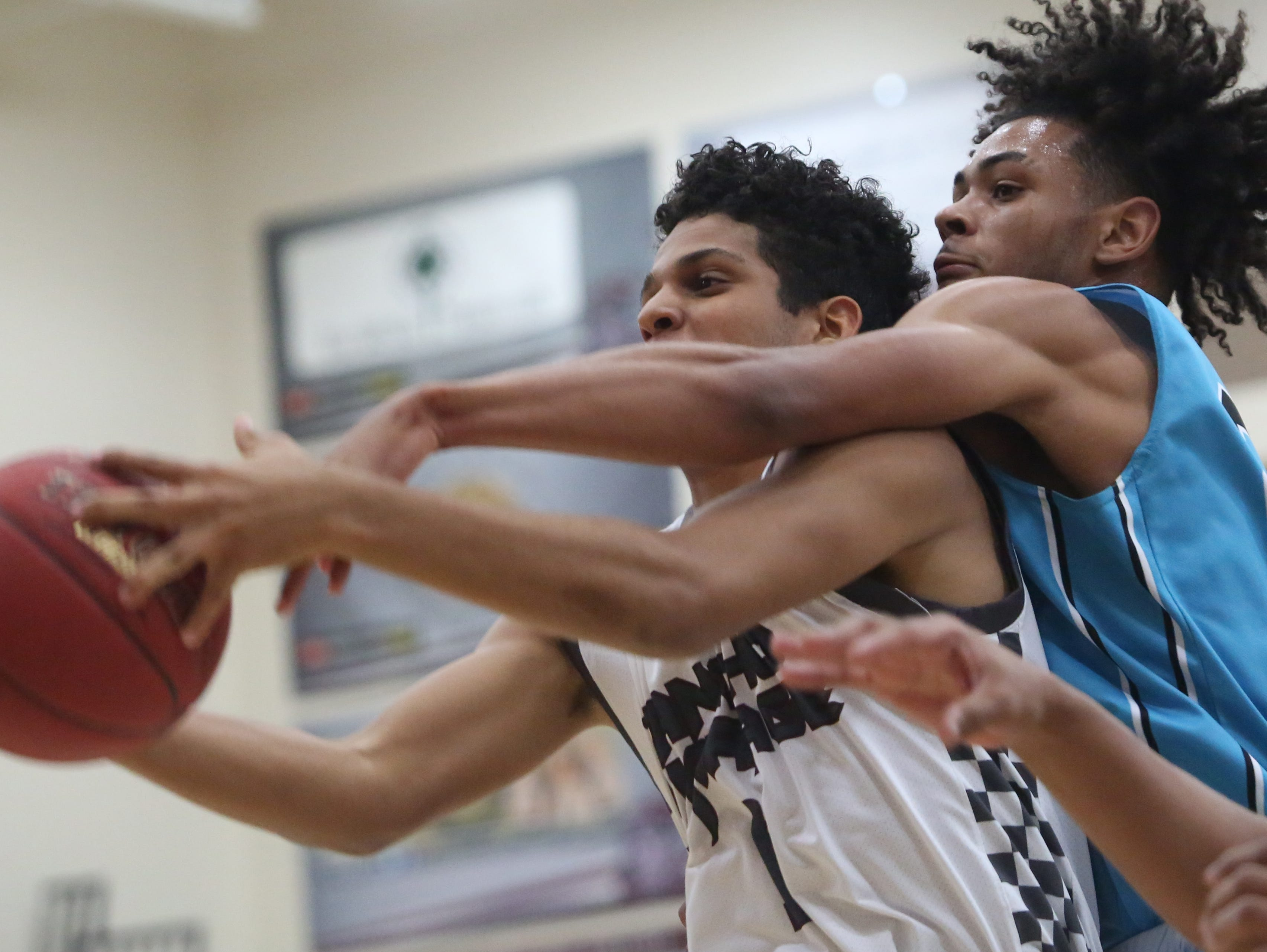 Rancho Mirage High School's Marques Prior tries to control a ball against Grand Terrace High School at Rancho Mirage on February 15, 2017. Rancho Mirage won the game 96-56.
