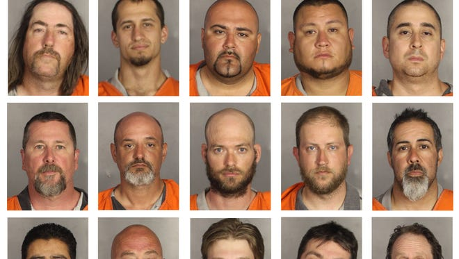 This combination of booking photos provided by the McLennan County Sheriff's office shows people arrested during the motorcycle gang-related shooting at the Twin Peaks restaurant in Waco, Texas on Sunday, May 17, 2015.