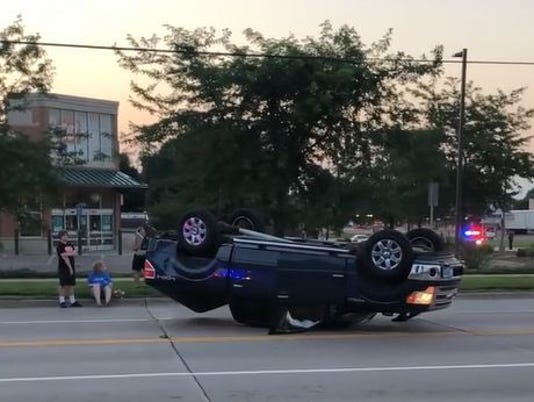 Rollover crash at 26th and Sycamore