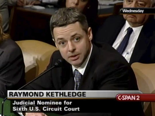 FILE - In this May 7, 2008, file image from video provided by C-SPAN, Raymond Kethledge testifies during his confirmation hearing for the Sixth U.S. Circuit Court on Capitol Hill in Washington. Kethledge is one of four judges thought to be President Donald Trump's top contenders to fill a vacancy on the Supreme Court. (C-SPAN via AP, File)