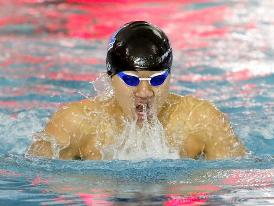 Shoonhsin Li of Horseheads on his way to winning the 200-yard individual medley during the 2016 Section 4 championships at Owego Free Academy on Feb. 20.