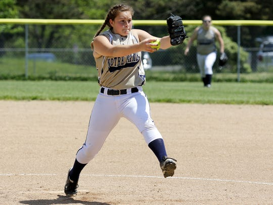 Notre Dame's Izzy Milazzo delivers a pitch to a Tioga batter during the Section 4 Class C title game at the BAGSAI Complex on May 28.