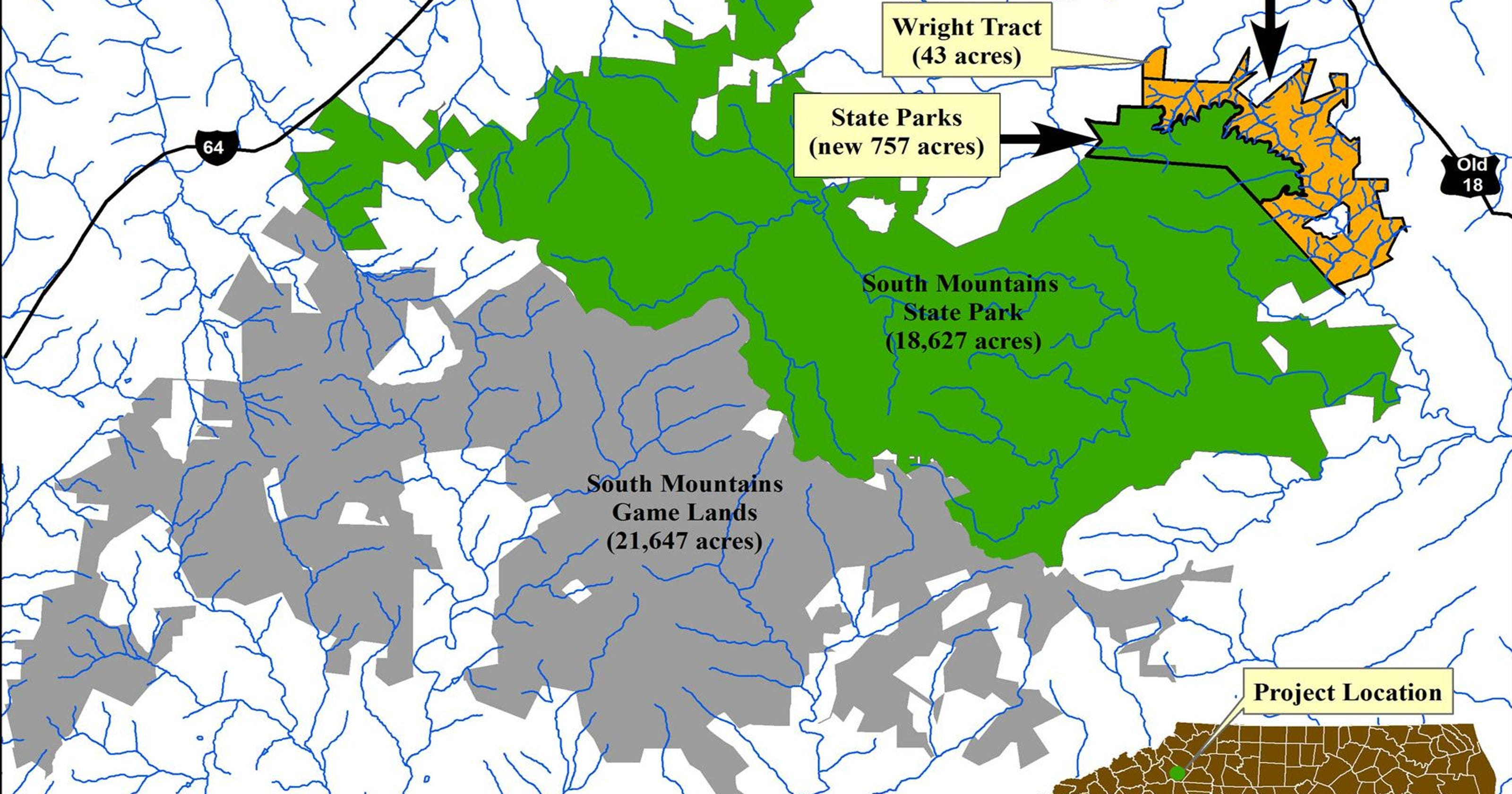 State Park Nc Map.Conservancy Protects South Mountains Headwaters Tract