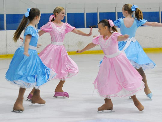 "Performers in the upcoming production of ""Mary Poppins"" practice recently at Space Coast Iceplex in Rockledge."