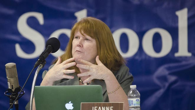 Jeanne Collins speaks during at a meeting of the Burlington School Board on Tuesday, May 13, 2014.