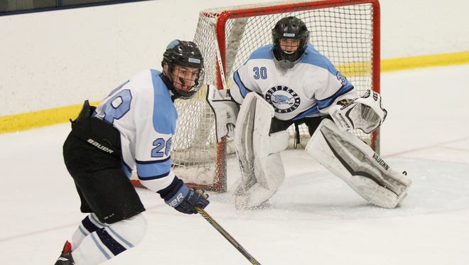 Suffern goalie Sean Gordon (30) works the crease against Saratoga at Sport-O-Rama on Monsey on Friday, Jan. 15, 2016.