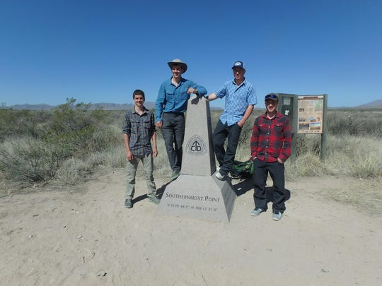 Dakota and Nevada Eby of Pennsylvania and Clark and Lincoln Weaver of Fairfield, Montana beginning of the Continental Divide Trail in New Mexico near the U.S.-Mexico border.