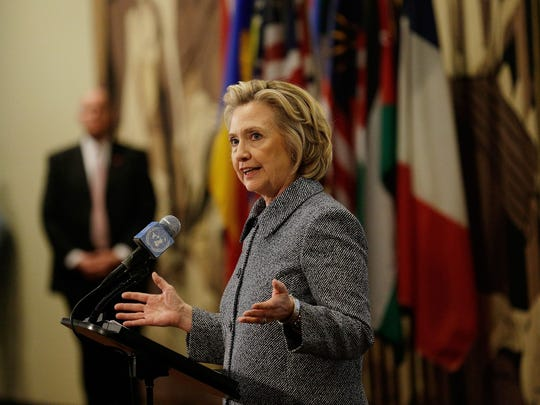 Clinton speaks to the media at the United Nations in New York on March 10, 2015, in regard to her use of a private email server while serving as secretary of State.