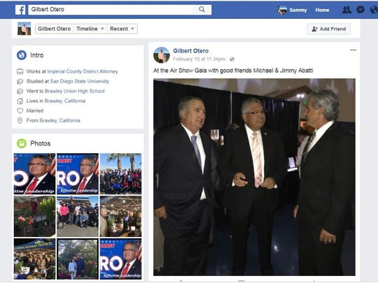 "Left to right: Former Imperial Irrigation District board member Mike Abatti, Imperial County district attorney Gilbert Otero, and Mike Abatti's brother Jimmy Abatti. This photo was posted by the official Facebook profile for Otero's re-election campaign on Feb. 10, 2018, with the caption, ""At the Air Show Gala with good friends Michael & Jimmy Abatti."""