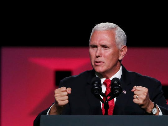 Vice president Mike Pence speaks at the annual meeting