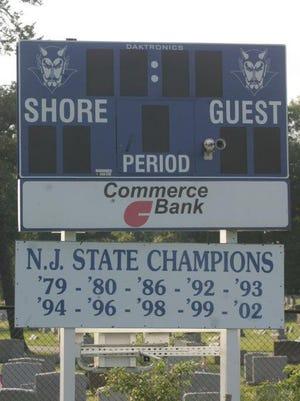 Shore Regional High School scoreboard.