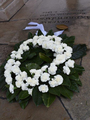 A wreath prepared by The Tulip Tree florist in Nashville,