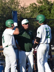Southlake Carroll head baseball coach Larry Vucan talks to his players earlier this season. Vucan, a former Eastwood player and former Franklin head coach, has Southlake Carroll in the Class 6A Final Four this season.