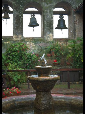 The bowl of this fountain is original, dating back to mission times at San Juan Capistrano.