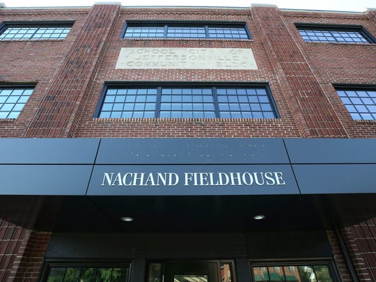 A sign renaming the Nachand Fieldhouse in Jeffersonville