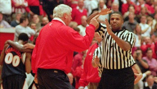 FILE - Referee Ted Valentine, right, calls a technical foul on Indiana coach Bobby Knight, left, in the second half against Illinois in Bloomington, Ind., Feb. 24, 1998.