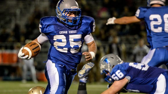 Cedar Crest senior Justice Belleman returns to spearhead the Falcons' running game after bowling over defenders en route to an all-county selection in 2015.