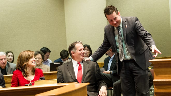 Council Chairman Kevin Naquin, right, with Mayor-President Joel Robideaux in this file photo.