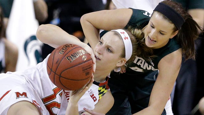 Maryland guard Kristen Confroy, left, battles for a loose ball against Michigan State guard/forward Lexi Gussert on March 6, 2015.