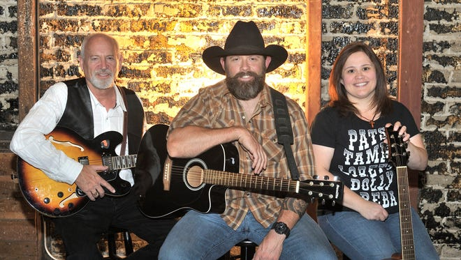 """Pete Chambers, Mike Goodin and Jennifer Toledo stars in the production of Visalia Players  """"Honky Tonk Nights"""" a Ca-beer-ay in the lobby of the Visalia Ice House Theatre, show times are May 19, 20 at 7:30pm and May 21 at 4:00pm tickets are $13.00."""