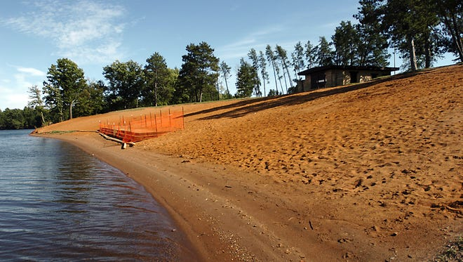 Red Sands beach at Lake Wazeecha.