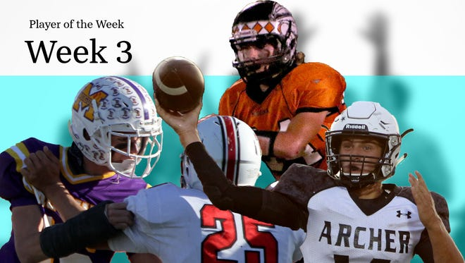 Week 4 illustration of TRN's Player of the Week nominees of Munday's Kade Sanders, Nocona's Tanner Cable and Archer City's Morgan Wylie. Not pictured are Holliday's Tanner Bayard and Iowa Park's Brendan Fallon.