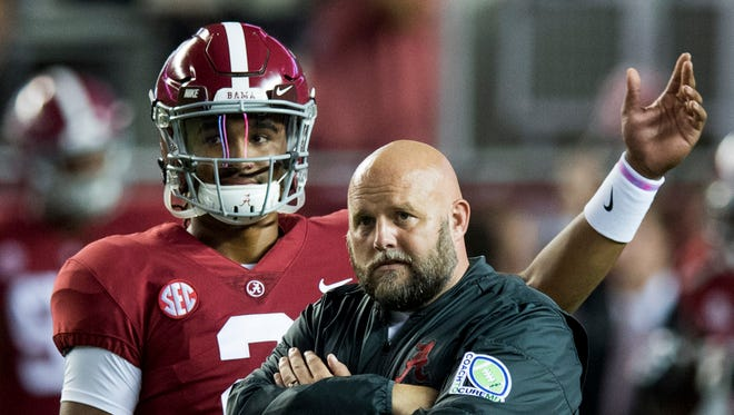 Alabama quarterback Jalen Hurts and offensive coordinator Brian Daboll have developed a strong chemistry this season.