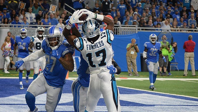 Panthers receiver Devin Funchess (Farmington Hills Harrison) catches a 10-yard touchdown pass in the second quarter against the Lions on Sunday, Oct. 8, 2017, at Ford Field.