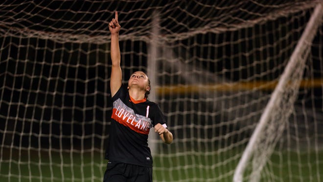 Loveland striker Collen Swift celebrates her match winning goal in OT in the semi final match between Loveland and Olentangy Liberty High School in Centerville, Ohio. Loveland defeated Olentangy Liberty 2-1 with 1:17 left in the first OT.